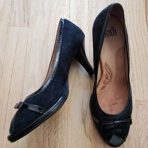 Sofft Black Suede Leather Peep Toe Pumps 9.5